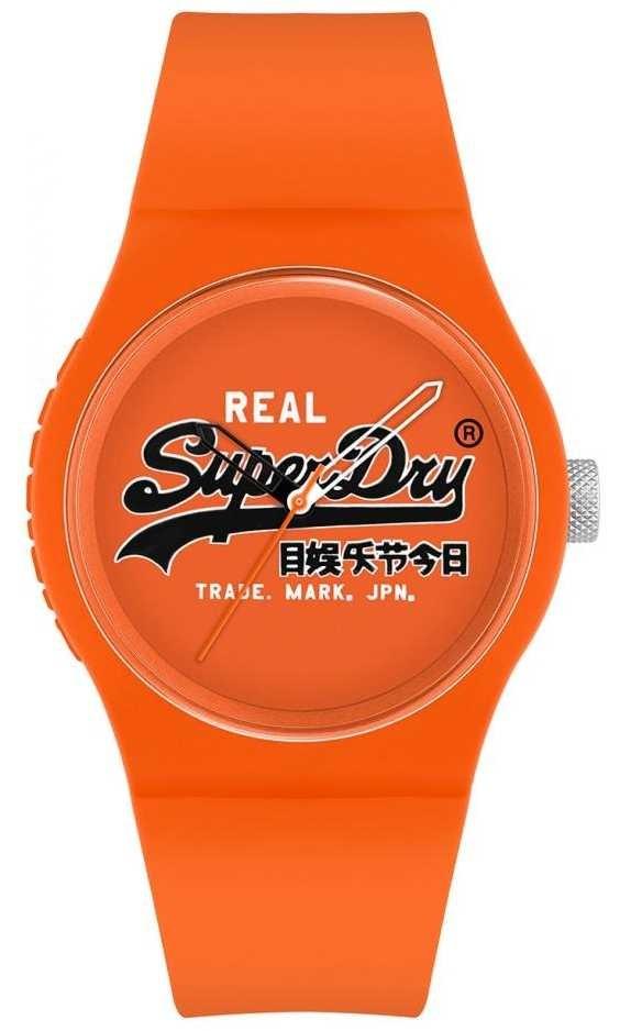 Superdry Urban Original   Orange Silicone Strap   Orange Print Dial   SYG280OB