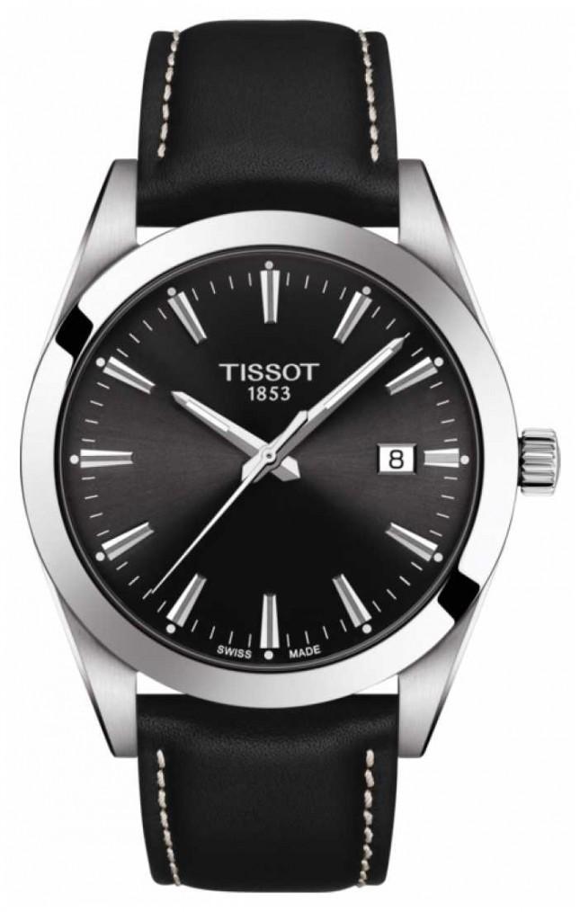 Tissot Gentleman   Black Leather Strap   Black Dial   T1274101605100