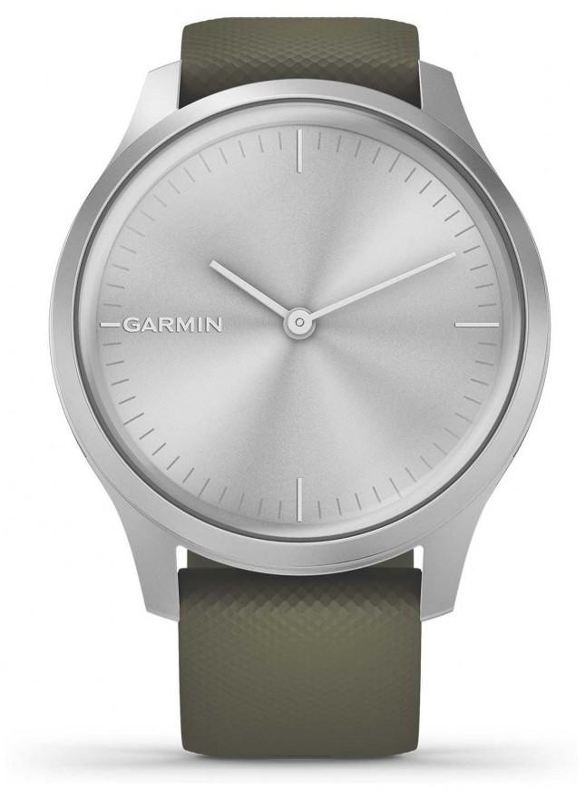 Garmin Vivomove 3 Style   Silver Aluminium Case   Moss Silicone Strap 010-02240-01