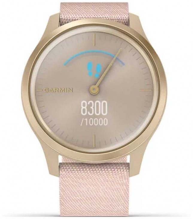 Garmin Vivomove 3 Style | Light Gold Aluminium Case | Pink Strap 010-02240-02