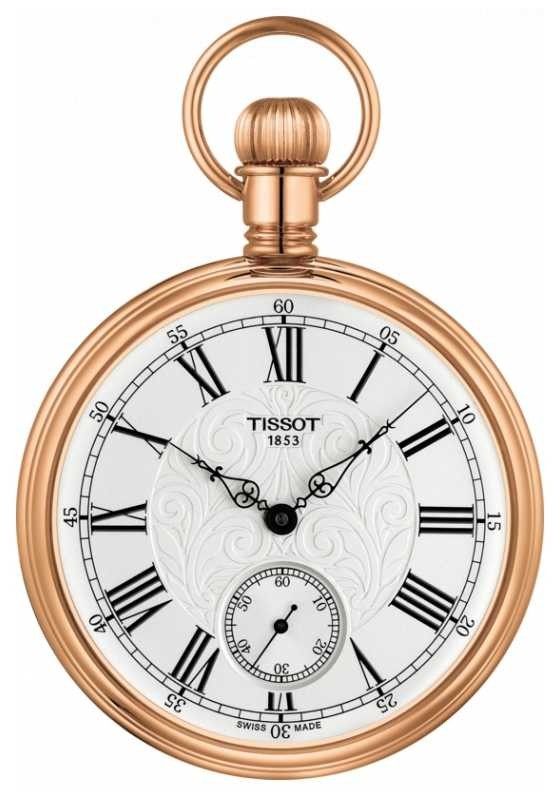 Tissot Lepine Mechanical Pocket Watch Rose Gold Plated Stainless T8614059903301