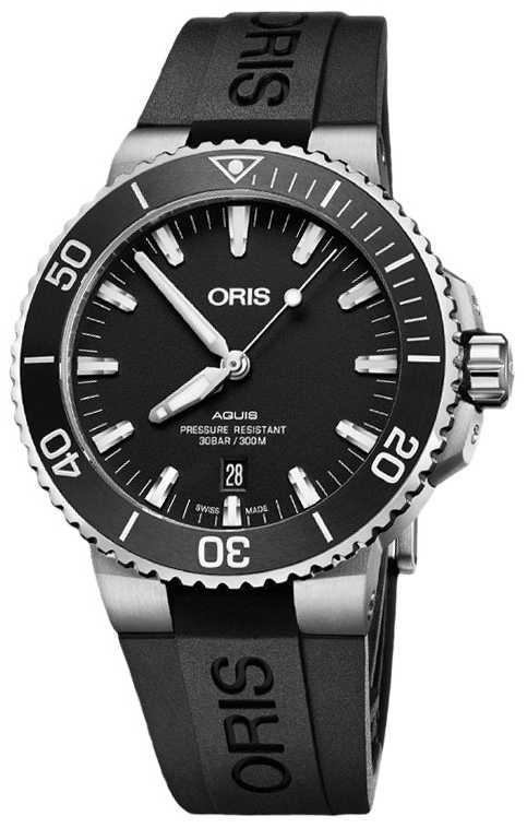 ORIS Aquis Date 43.5mm Mens Black Rubber Strap 01 733 7730 4124-07 4 24 64EB