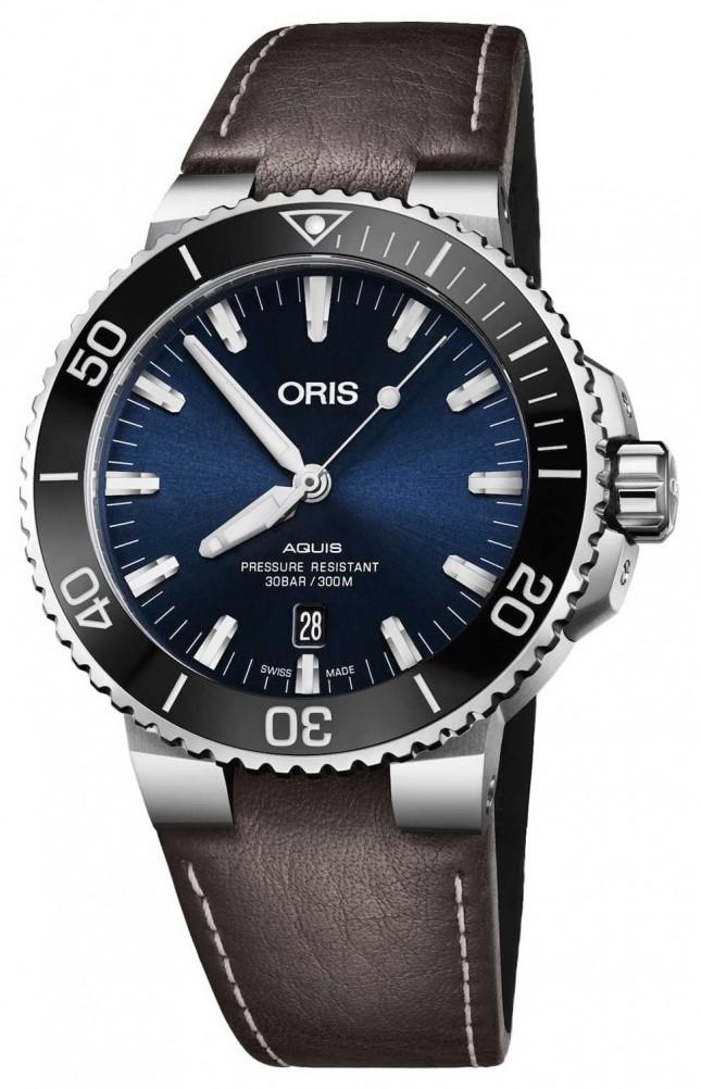ORIS Aquis Date 43.5mm Mens Watch Leather 01 733 7730 4135-07 5 24 10EB