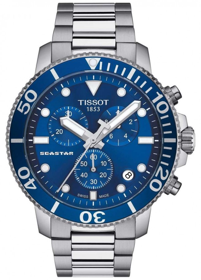 Tissot Mens Seastar 1000 Quartz Chronograph Blue/Stainless Steel T1204171104100