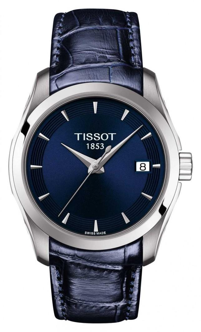 Tissot Womens Couturier Blue Leather Strap Blue Dial T0352101604100