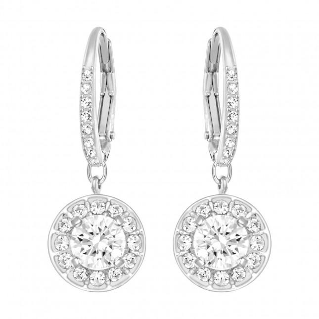 Swarovski Attract | Rhodium Plated| White | Dangling Earrings 5142721