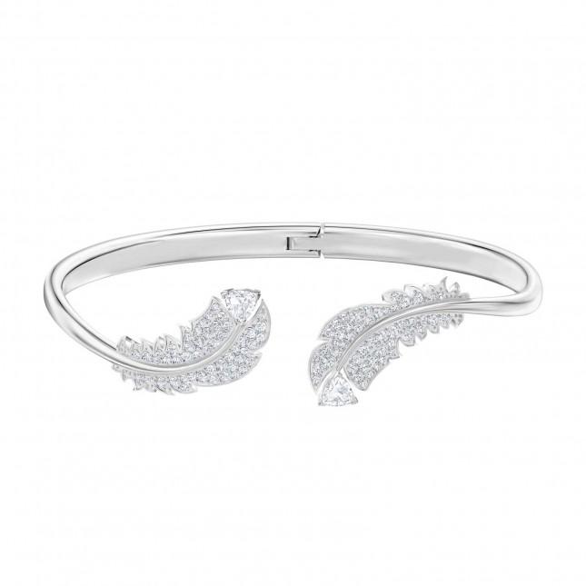 Swarovski Nice | Feather Bangle | Rhodium Plated | White | Size Medium 5482915