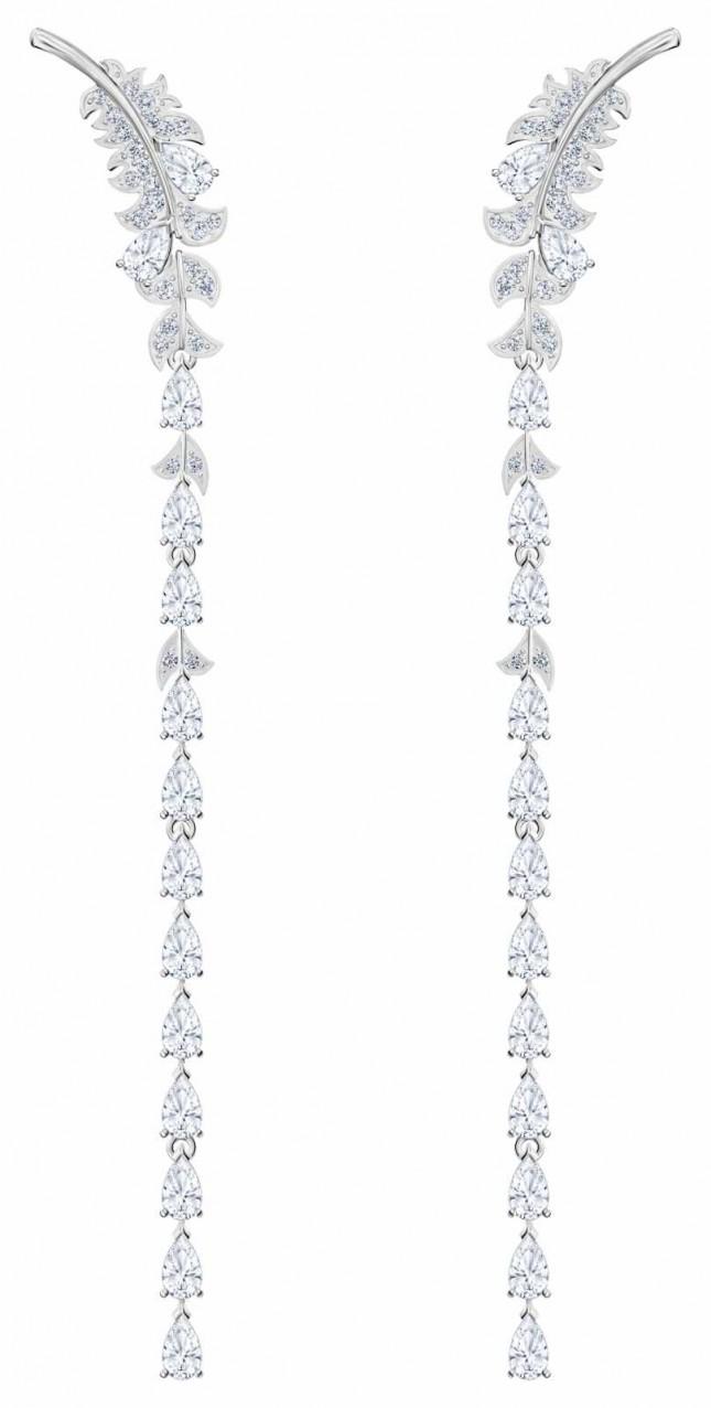Swarovski Nice | Pierced Drop Earrings | Rhodium Plated | White | 5493406