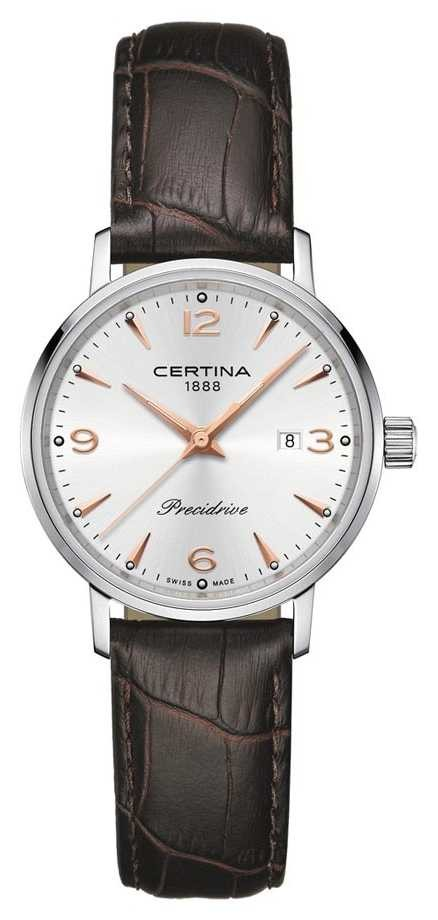 Certina Womens DS Caimano Precidrive Brown Leather Strap Silver Dial C0352101603701