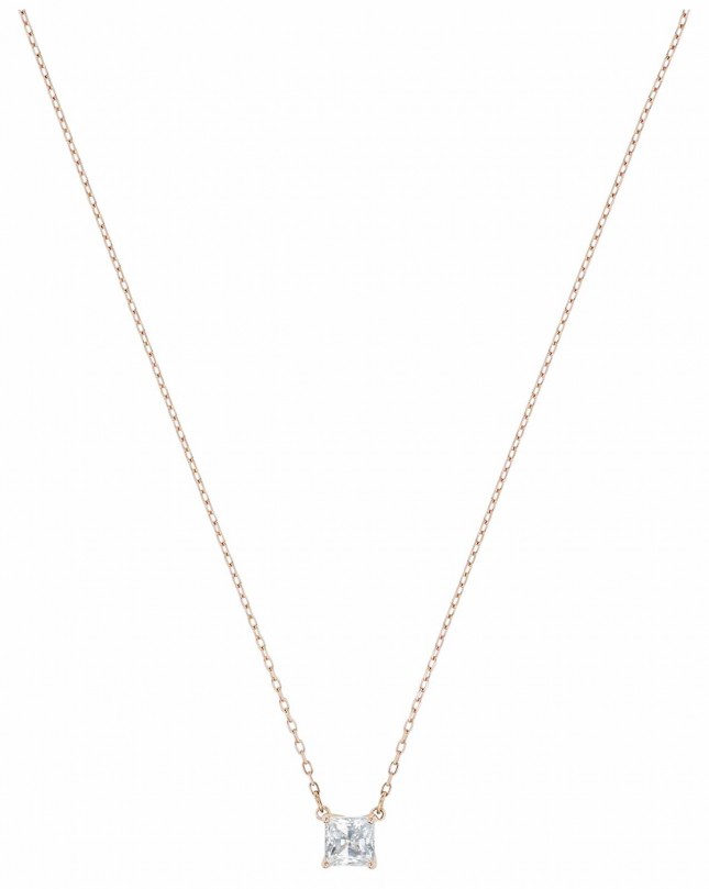 Swarovski Attract |Rose-Gold Plated |White |Square | Necklace 5510698