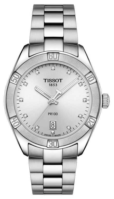 Tissot Ladies PR 100 Sport Chic Diamond Set Date Display T1019101103600