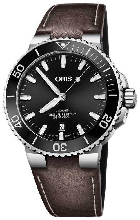 ORIS Aquis Date 43.5mm Mens Brown Leather Strap 01 733 7730 4134-07 5 24 10EB