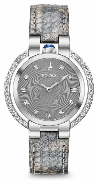 Bulova Women's Rubaiyat Diamond Set Leather Strap 96R218