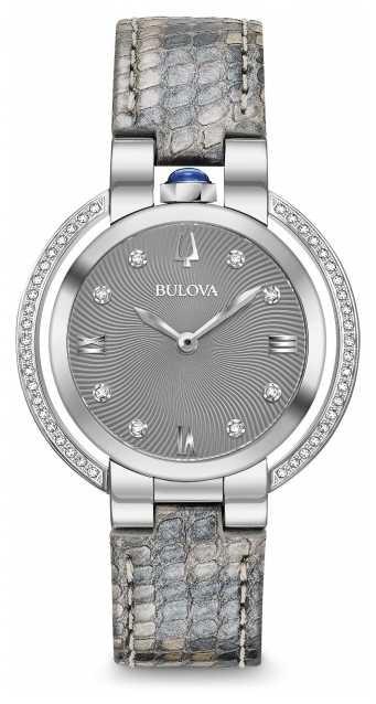 Bulova Women's Rubaiyat Diamond Set Leather Strap 96R218