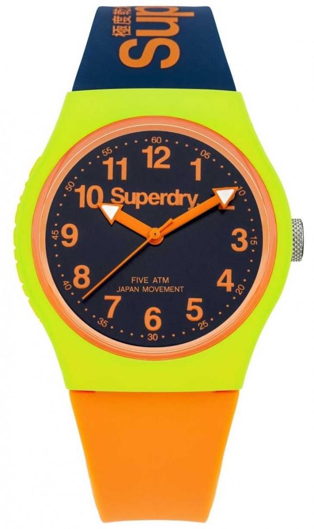 Superdry Urban Navy Orange Silicone Strap Watch SYG164MU