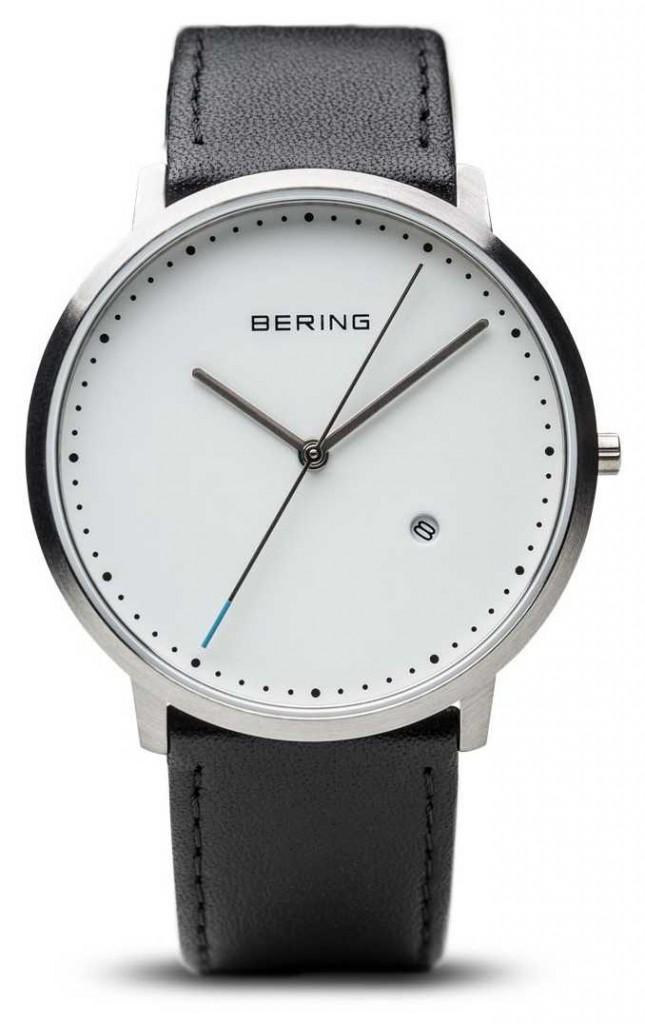 Bering Unisex White Dial Black Leather Strap 11139-404