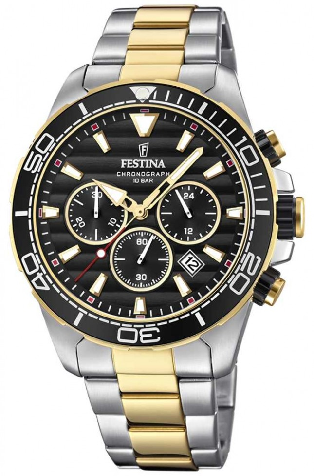 Festina Mens Two-tone Stainless Steel Chronograph Black Dial F20363/3