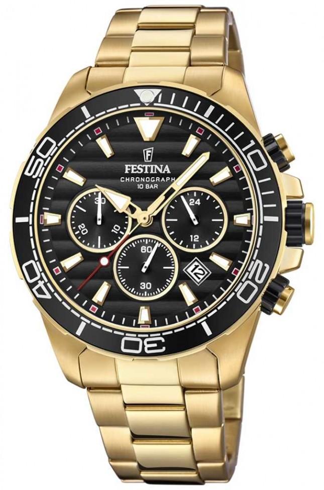Festina Mens Gold Stainless Steel Chronograph Black Dial F20364/3