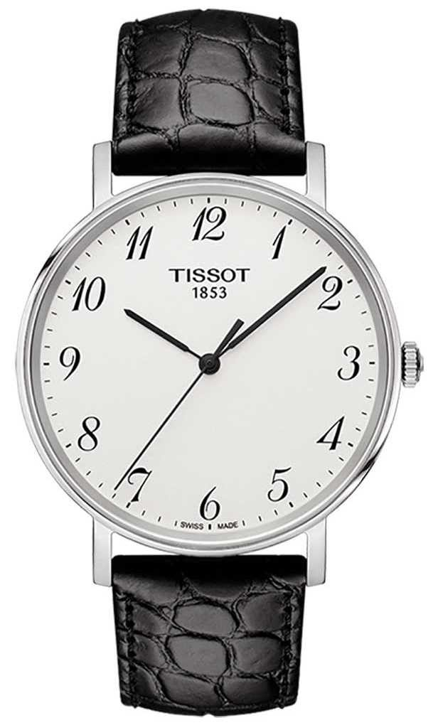 Tissot Mens Everytime medium Black Leather Silver Dial T1094101603200