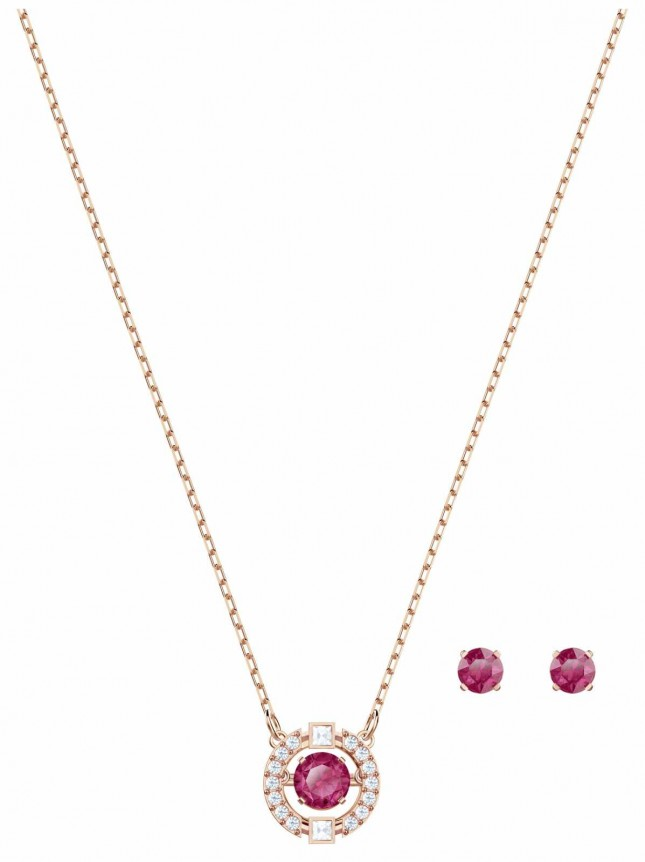 Swarovski Sparkling | Dance Round Necklace Set | Red | Stud Earrings 5480494
