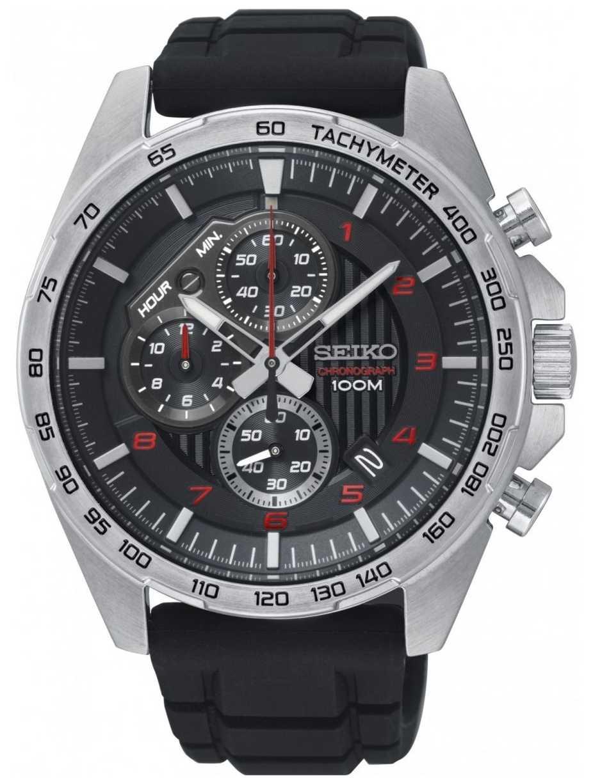 Seiko Mens Motorsport Black Chronograph Rubber Strap Watch SSB325P1