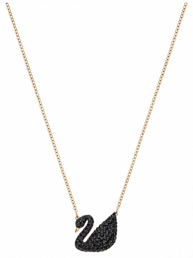 Swarovski   Iconic   Black Swan Pendant   Rose Gold Plated Necklace 5204134