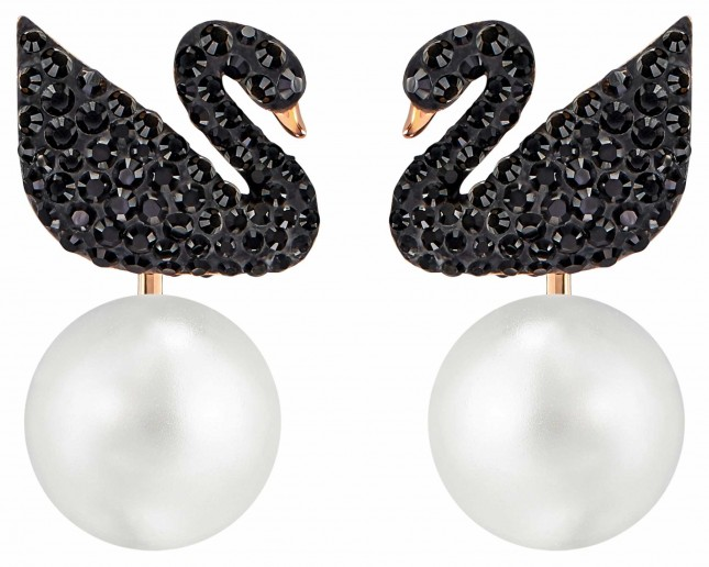 Swarovski | Iconic | Swan Pierced Pearl Earrings | Black | Rose Plated 5193949