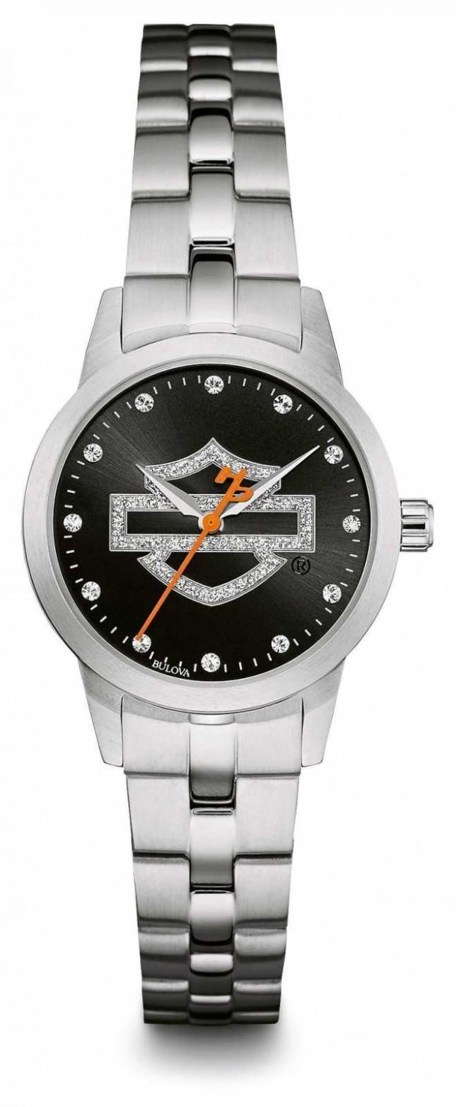 Harley Davidson Black Logo Crystal Set Dial Stainless Steel Bracelet 76L182