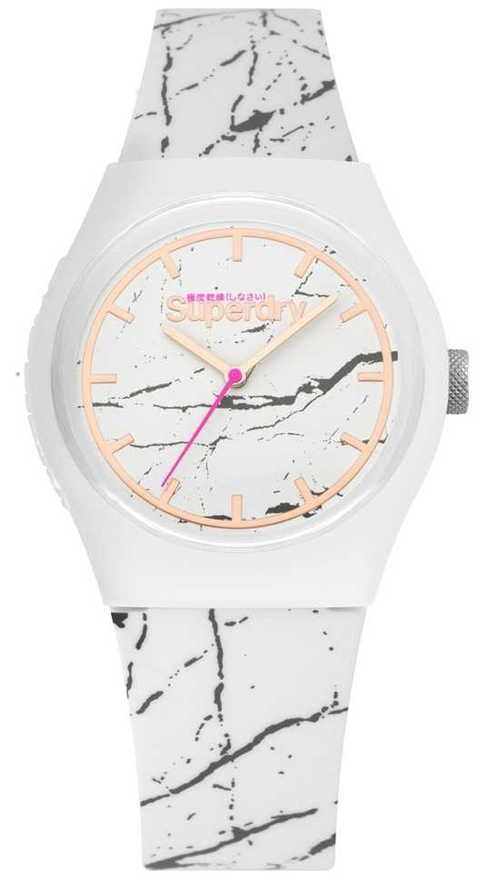 Superdry | Womens White Silicone Strap | Grey Print | SYL253WE