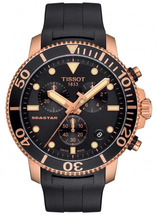 Tissot Mens Seastar 1000 Quartz Chronograph Black/Gold/Rubber Strap T1204173705100