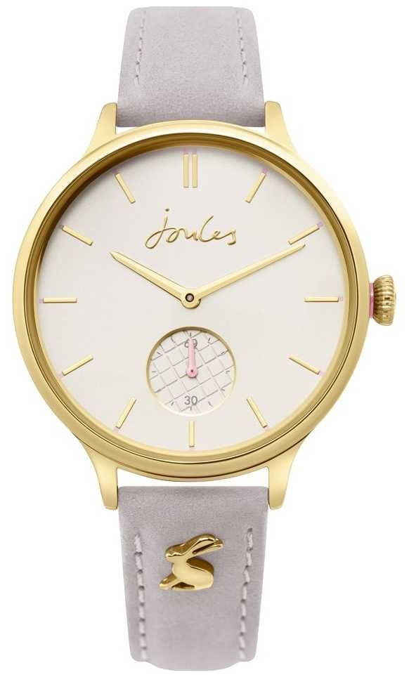 Joules | Ladies Grey Leather Strap | Gold Case | JSL014EG
