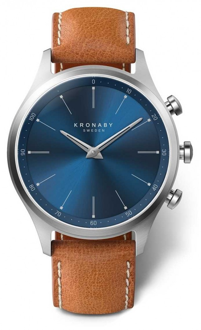 Kronaby 41mm SEKEL Blue Dial Brown Leather Strap A1000-3124 S3124/1