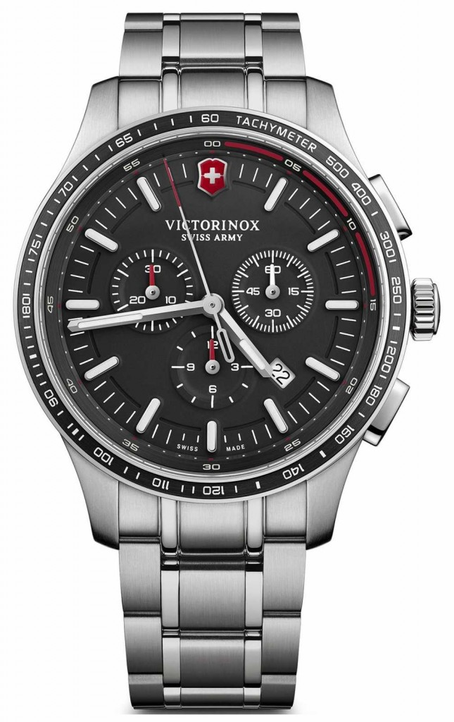 Victorinox Swiss Army Mens Alliance Sport Chronograph Steel Bracelet Black Dial 241816