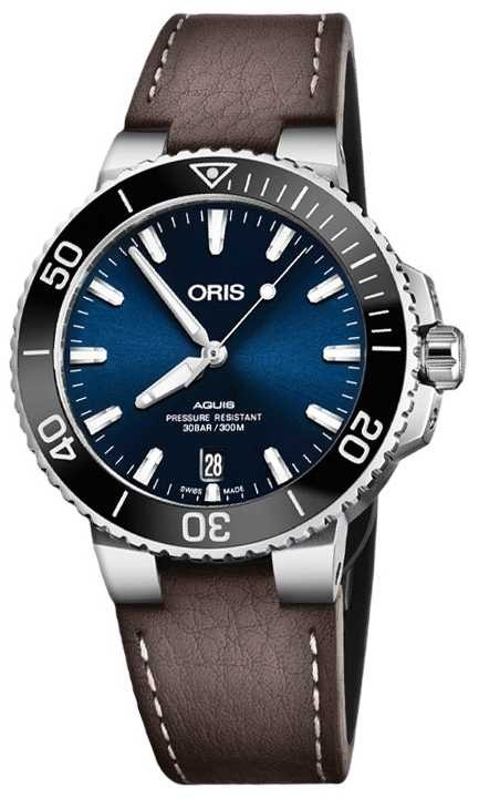 ORIS Aquis Date 39.5mm Mens Watch Leather 01 733 7732 4135-07 5 21 10FC