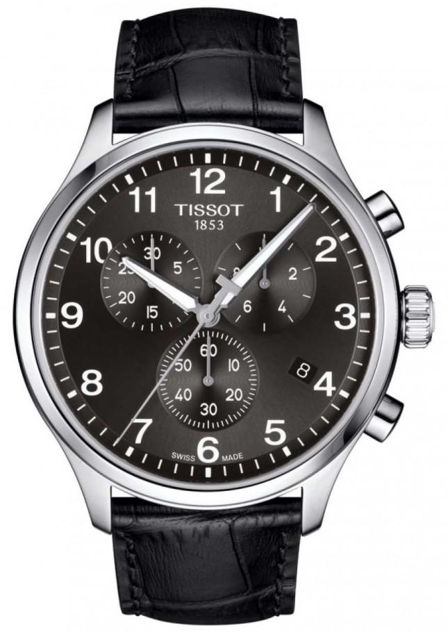 Tissot Mens T-sport XL Chronograph Black Dial Black Leather Strap T1166171605700