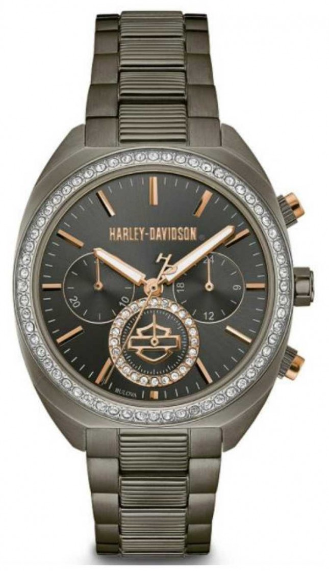 Harley Davidson Womens From The Lady Gear | Gunmetal Grey Stainless Steel 78M103