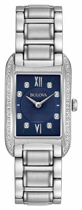 Bulova Women's Diamond Set Black Dial Stainless Steel Bracelet 96R211