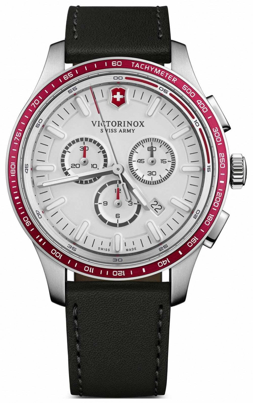 Victorinox Swiss Army Mens Alliance Sport Chronograph White Dial Black Leather 241819