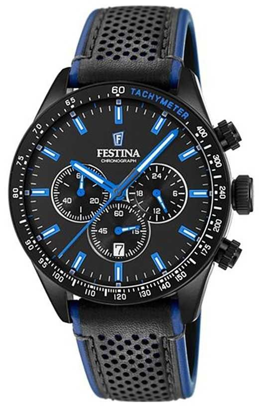 Festina Mens Chronograph Black Dial Black Leather Strap F20359/3