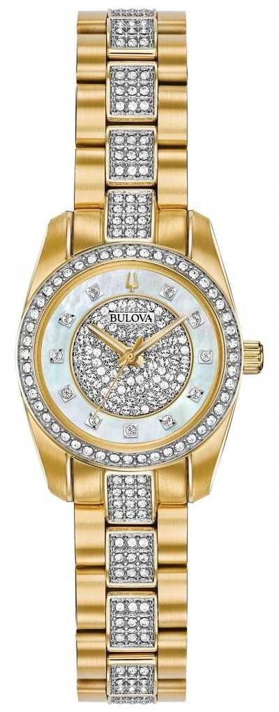 Bulova Women's Two Tone Crystal Set Bracelet Dial 98L241