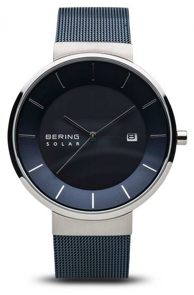 Bering Mens Solar Watch, Blue Face Stainless Steel Blue Mesh Strap 14639-307