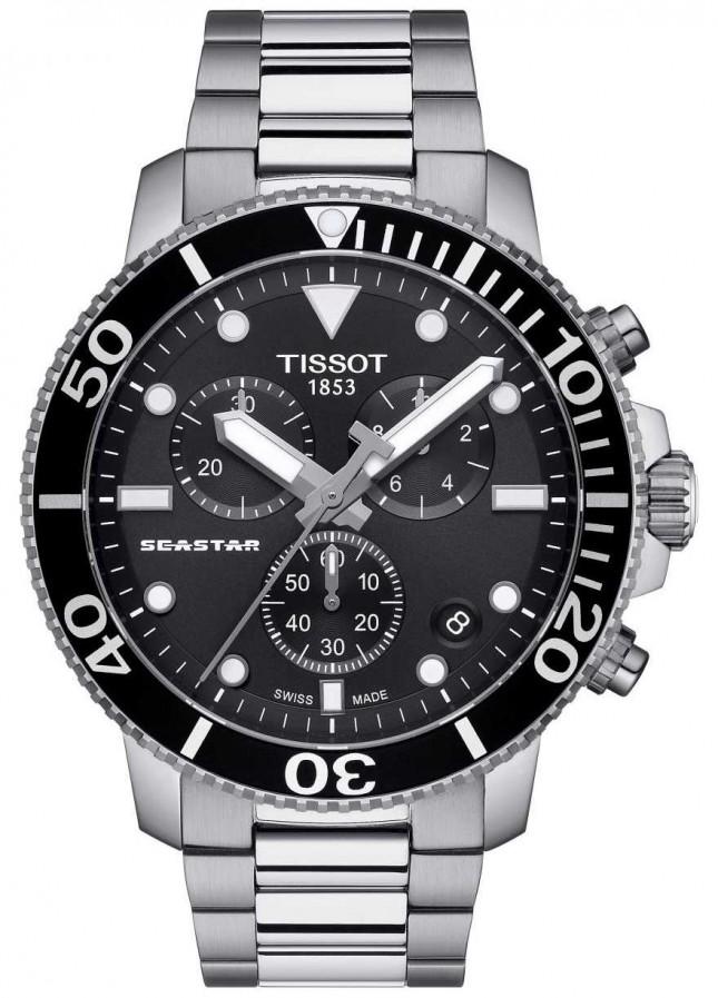 Tissot Mens Seastar 1000 Quartz Chronograph Black/Stainless Steel T1204171105100