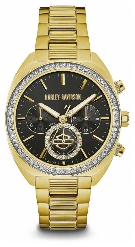 Harley Davidson Women's Crystal Set | Black Dial | Gold Stainless Steel 77M103