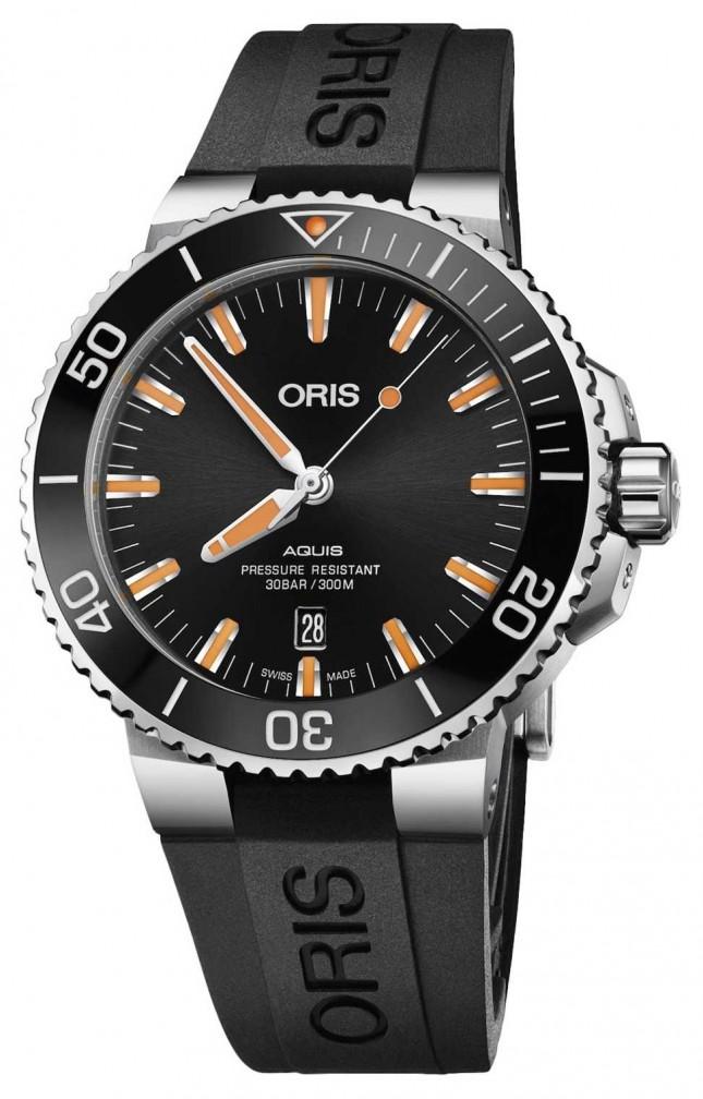 ORIS Aquis Date 43.5mm Mens Watch | Rubber Strap | 01 733 7730 4159-07 4 24 64EB