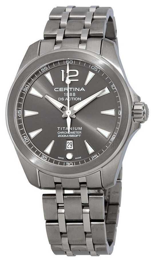 Certina Mens DS Action Watch Grey Dial Titanium Bracelet C0328514408700