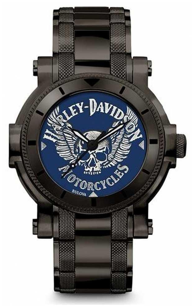 Harley Davidson Mens For Him | Black Stainless Steel Bracelet | Blue Dial 78A117