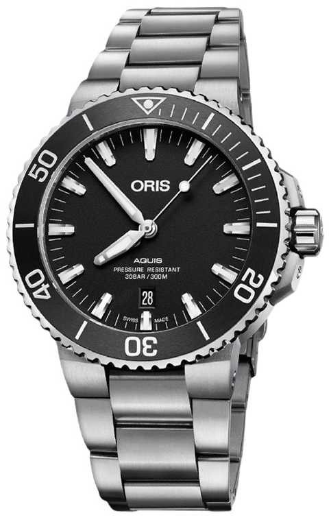ORIS Aquis Date 43.5mm Mens Watch | Silver Strap | 01 733 7730 4124 07 8 24 05EB
