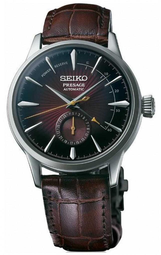 Seiko Presage Automatic Black Cat Martini 'Cocktail Time' Brown Leather SSA393J1