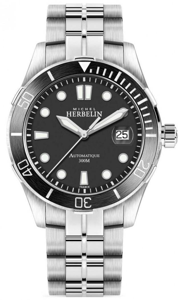 Michel Herbelin Men's Trophy Silver Bracelet Black Dial 1660/N14B