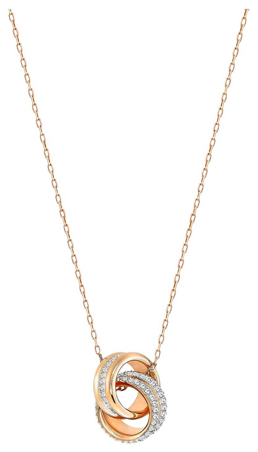 Swarovski Further   Rose Gold Plated Pendant Necklace   White Stones 5240525